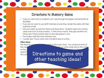 August Word of the Day Memory Game