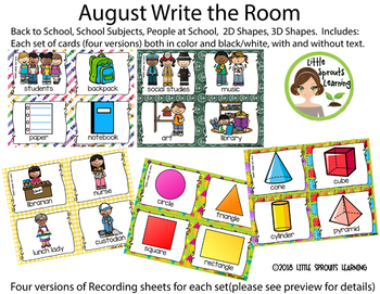 August Write the Room Bundle - School, Subjects, Staff, 2D Shapes, 3D Shapes