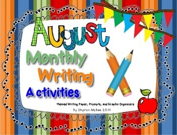 August Writing Activities Bundle: Prompts, Graphic Organizers, Themed Paper