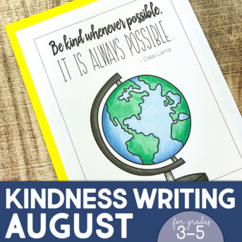 August Writing Activity | Thankful for Kindness Writing | Back to School Writing
