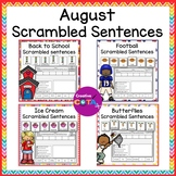 August Writing Bundle Scrambled Sentence Cards and Worksheets