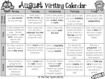 Writing Calendar:  20 Prompts for the Month of August