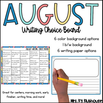 August Writing Choice Board