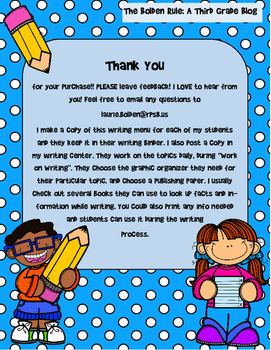 August Writing Menu with Graphic Organizers & Publishing Paper! Freebie Inc.!