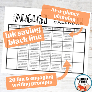 August Writing Prompts Back to School NO PREP Daily Journal