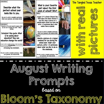 August Writing Prompts (Based on Bloom's Taxonomy)- With Real Pictures!