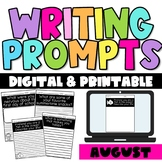 August Writing Prompts- Digital and Printable