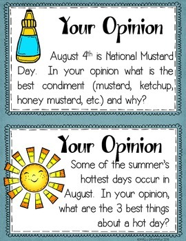 August Writing Prompts: Graphic Organizers, Papers, and Posters