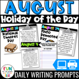 August Writing Prompts | Morning Meeting | Holiday of the Day