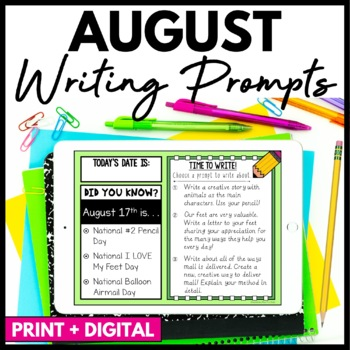 August Writing Prompts and Journal