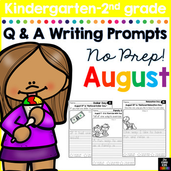 August Writing Prompts for Kindergarten to Second Grade