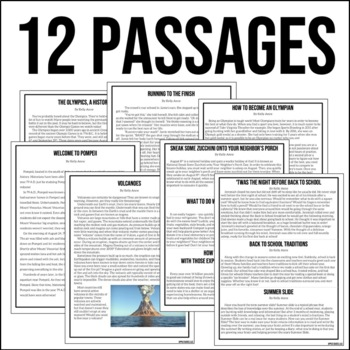 August Writing Test Prep & ELA Paired Passages for Upper Elementary