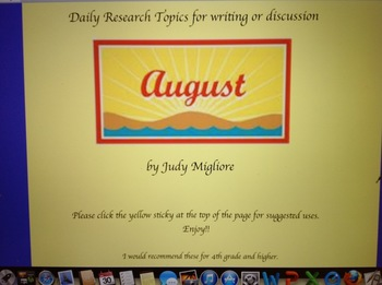 August Writing or Research Topic Promethean Board Flipchart