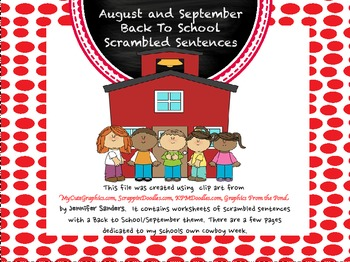 August and September Back to School Sentence Scramble