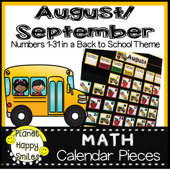 August and September Calendar Numbers or Math Station Number Cards
