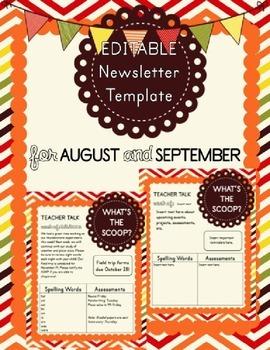 August and September EDITABLE Newsletter Template
