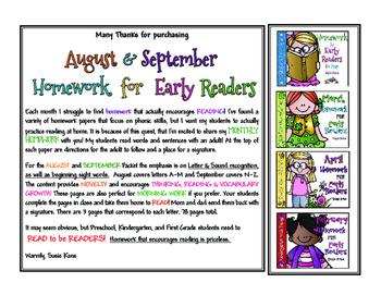 August and September Homework for Emergent Readers