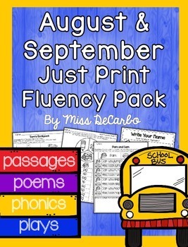 August and September Just Print Fluency Pack