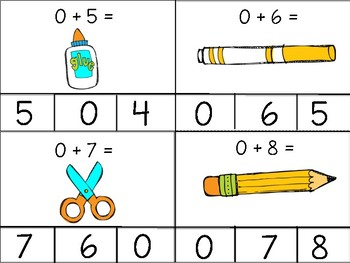 August and September Math Fact Clip Cards: Addition and Subtraction to 10