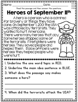 August and September Nonfiction Reading Comprehension Passages for 2nd & 3rd