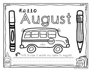 August and September Writing Journals for Kindergarten/1st Grade