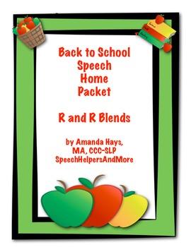 August and September /r/ Articulation Homework Flash Cards