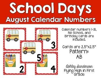 August calendar days