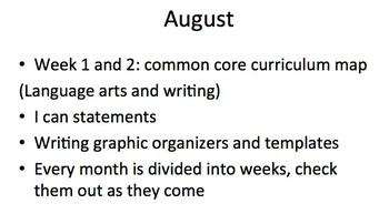 August language arts curriculum map/pacing guide