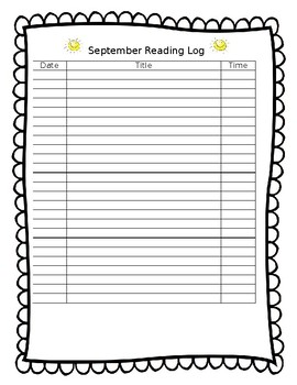 August through monthly May reading logs
