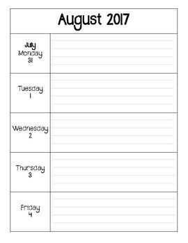 Weekly Calendar August 2017 to June 2018