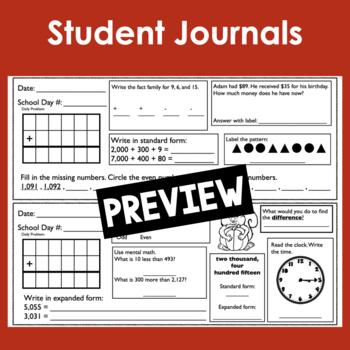 August/September Calendar Math Student Journal