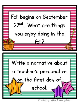August/September/Back to School Writing Prompts {Common Core Aligned}