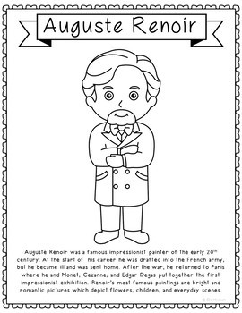 Auguste Renoir, Famous Artist Informational Text Coloring Page Craft or Poster