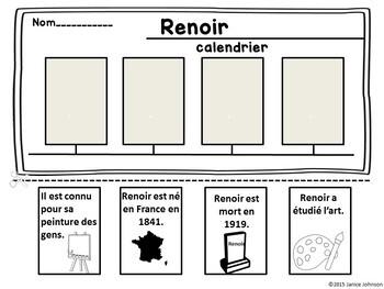 Auguste Renoir French Reader Organizer, & Timeline {En français}