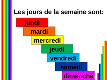 Aujourd'hui et demain (Days of the week in French) power point