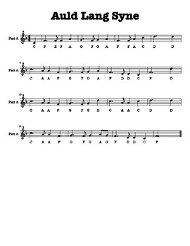 Auld Lang Syne Duet for 2 Recorders (F Major Scale in 4/4 Time)