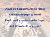 Auld Lang Syne: a rhythm and melody reading exercise