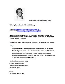 Auld Lang Syne (long long ago) Poetry and New Years Eve