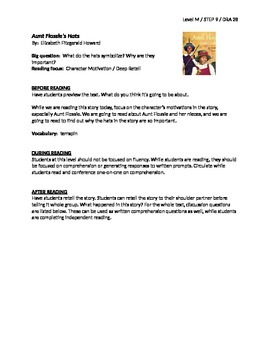 Aunt Flossie's Hats Guided Reading Lesson Plan - Level M