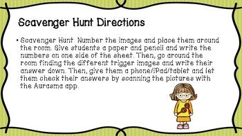 Aurasma Scavenger Hunt - Treble Clef Notes and Notes/Rests Values - Music