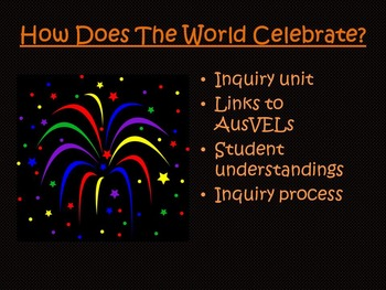 AusVELs Inquiry Unit - How does the world celebrate?