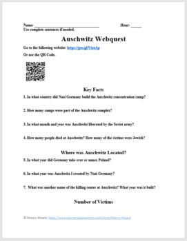 Auschwitz: Holocaust Webquest by History Wizard   TpT