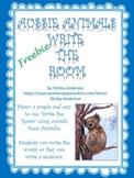 Aussie Animals Write The Room Freebie