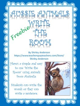 Aussie Animals Write The Room Freebie