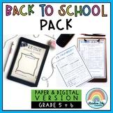 Aussie Back to School Activities { Paper + Digital } - Grade 5 & 6 Australia