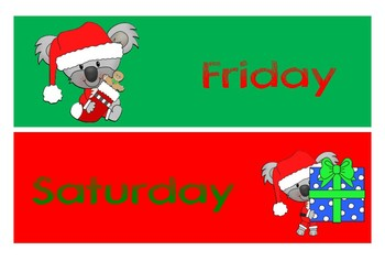 Aussie Christmas Days of the Weeks - 3 font styles