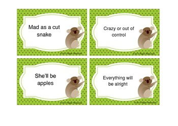 Matching Australian Idioms and Sayings