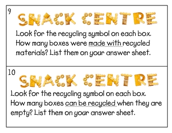 Aussie version - Snack Literacy Center