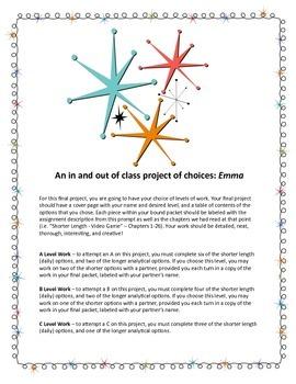 Austen's Emma Differentiated Project, High School ELA