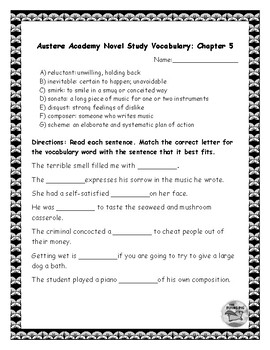 Austere Academy Novel Study Chapter Five